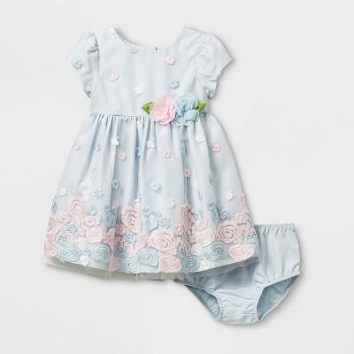 Mia & Mini Baby Girls' Embroidered Dress - Blue 6-9M