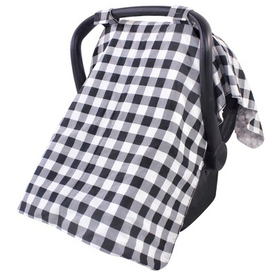 Hudson Baby Unisex Baby Reversible Car Seat and Stroller Canopy, Black Plaid, One Size