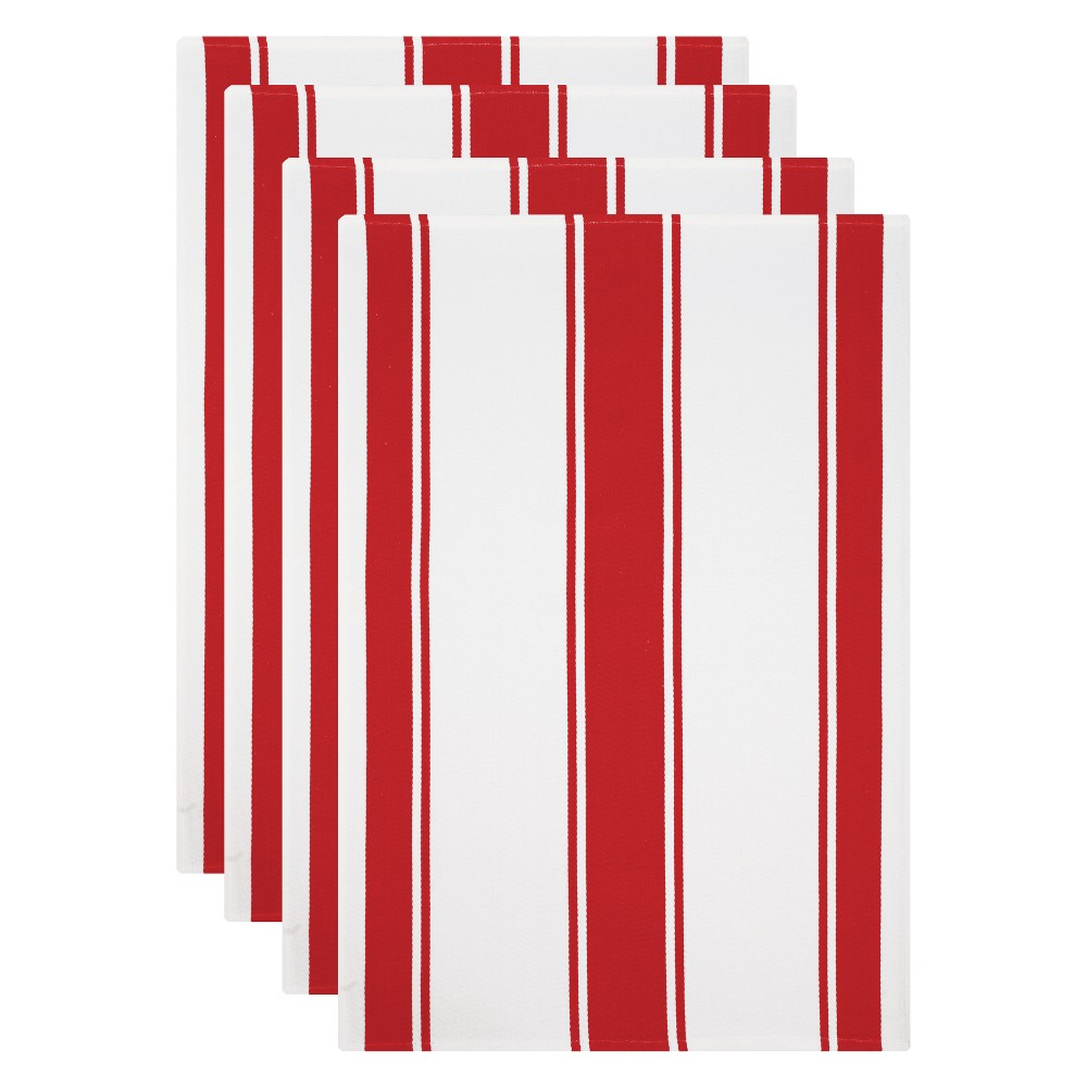 Kitchen Towel White/Red Set of 4 - Mu Kitchen Cook up a storm without wreaking havoc to your kitchen with this Set of 4 White/Red Kitchen Towels from Mu Kitchen. The soft, absorbent cotton towels with a striped pattern perfectly combines fashion and functionality to make your time in the kitchen a wee bit easier. The vibrant striped pattern adds chic contemporary style to your kitchen space. Put on your chef's hat for the next potluck or cooking marathon, and let this all-around kitchen helper take care of the rest. Pattern: Multi Stripe.