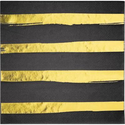 48ct Foil Striped Disposable Napkins Black