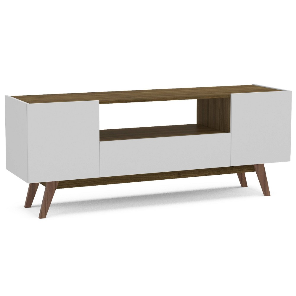 "Image of ""60"""" Brooklyn TV Stand White/Walnut - Chique"""