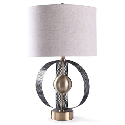 Havant Sculptural Perforated Metal Arches Centered Ball Table Lamp with Drum Shade Gold - StyleCraft