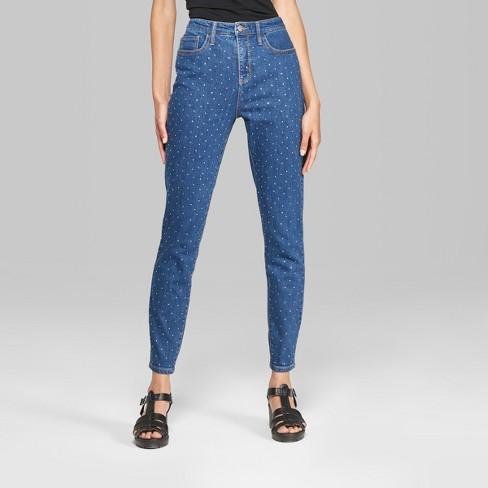 e818f98fba3a1 Women's Polka Dot High-Rise Diamante Skinny Jeans - Wild Fable™ Medium Wash  00 Long