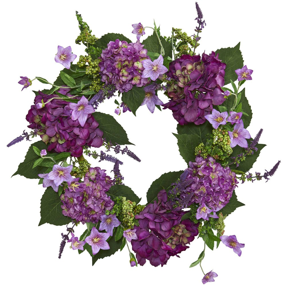 "Image of ""24"""" Artificial Hydrangea Wreath Purple/Green - Nearly Natural"""