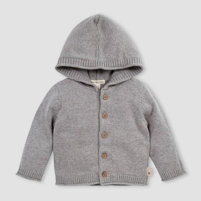 Burt's Bees Baby® Baby Knit Hooded Sweater Cardigan - Gray 3-6M