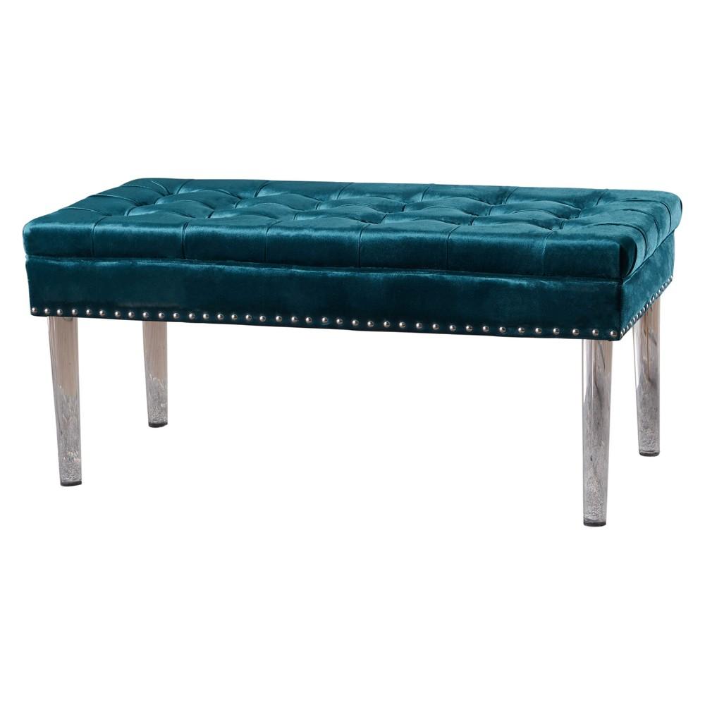 Beatrix New Velvet Ottoman - Teal (Blue) - Christopher Knight Home