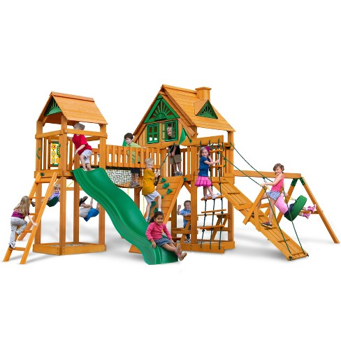 Gorilla Playsets Pioneer Peak Treehouse Swing Set with Amber Posts - image 1 of 3