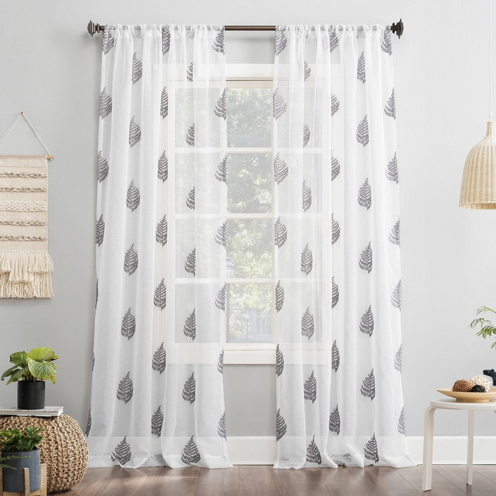 """Image of """"63""""""""x50"""""""" Fern Embroidered Fern Sheer Rod Pocket Curtain Panel Silver/White - No. 918"""""""