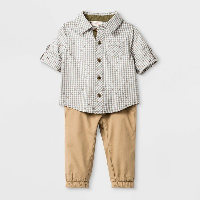 Baby Boys' Plaid Top and Twill Pants Set - Cat & Jack™ Brown 0-3M