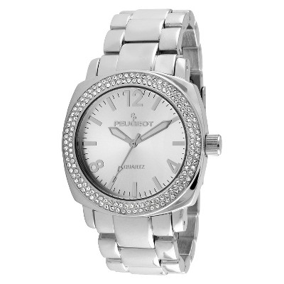 Women's Peugeot Crystal Bracelet Link Watch with crystals from Swarovski - Silver