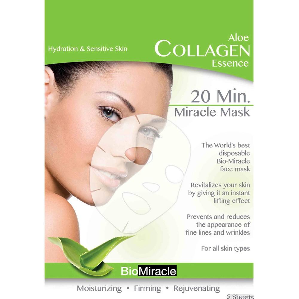 BioMiracle Anti-Aging & Moisturizing Face Mask Sheets - Aloe - 5 ct