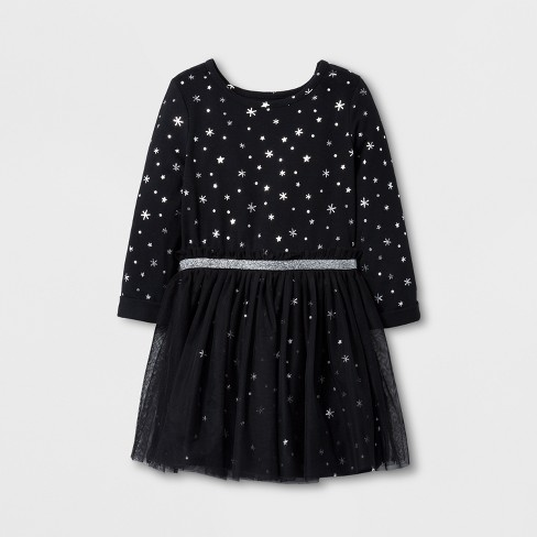 toddler girls christmas basic sleeve a line dress cat jack black 2t