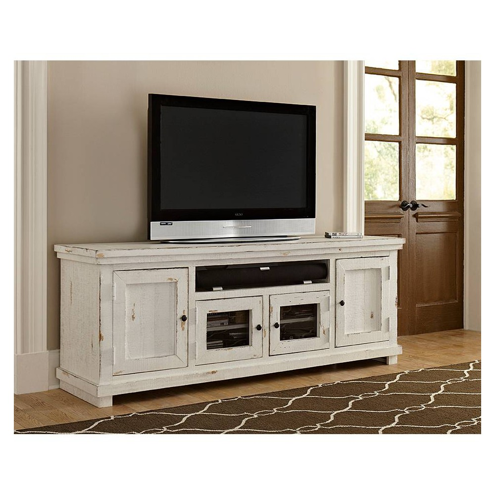 "Image of ""74"""" Willow TV Console Distressed White - Progressive"""