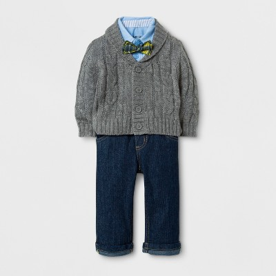 Baby Grand Signature Baby Boys' Cable Cardigan and Denim Pants Suit Set - Gray 6-9M