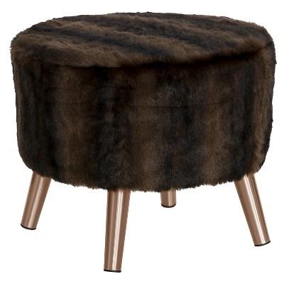 Round Ottoman with Splayed Legs - Br Sable Brown - Skyline Furniture
