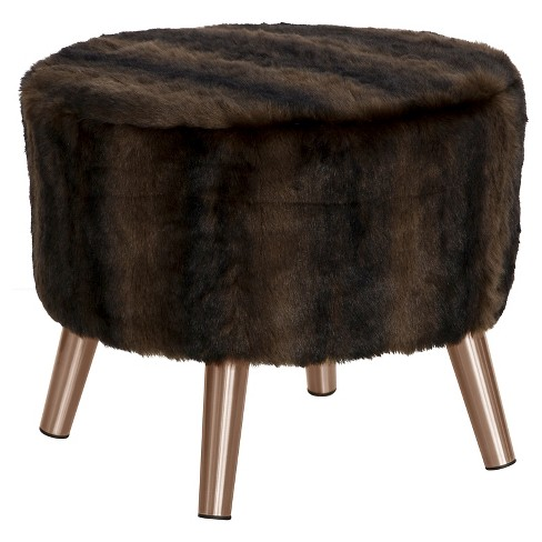 Brilliant Round Ottoman With Splayed Legs Br Sable Brown Skyline Furniture Gmtry Best Dining Table And Chair Ideas Images Gmtryco