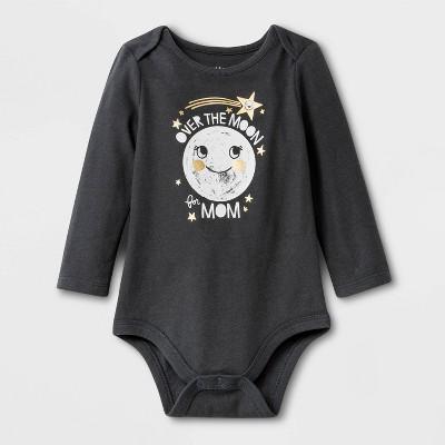 Baby Girls' Long Sleeve 'Over The Moon' Lap shoulder Bodysuit - Cat & Jack™ Gray 0-3M