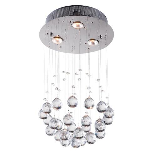 Elegant Tear Drop Crystal Halogen Ceiling Lamp Chrome Zm Home