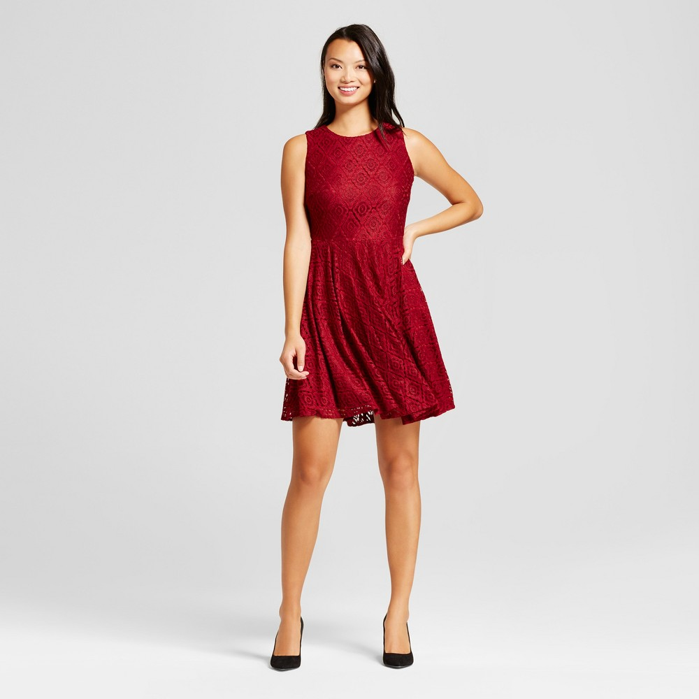 Women's Lace Fit and Flare Dress - Melonie T Wine 14, Red