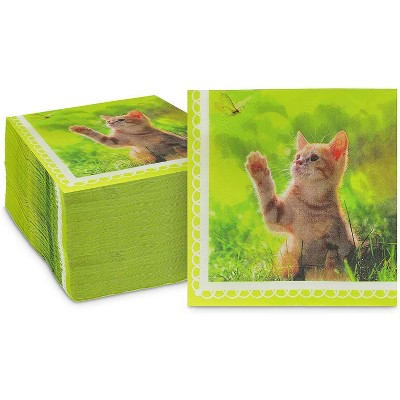 """Sparkle and Bash 150 Pack Kitten Paper Disposable Napkin Napkins for Cat Birthday Party, Green, 6.5"""""""