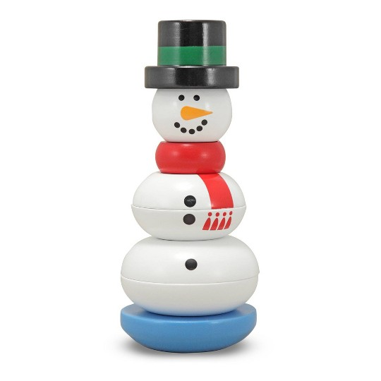 Melissa & Doug Snowman Stacker Wooden Toddler Toy (8pc) image number null