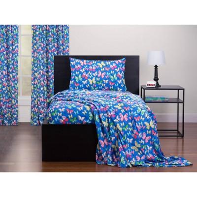Queen Brilliant Butterflies Twin Sheet Set Blue - Highlights