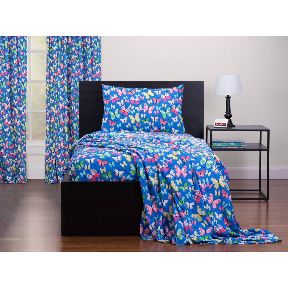 Image of Full Brilliant Butterflies Twin Sheet Set Blue - Highlights