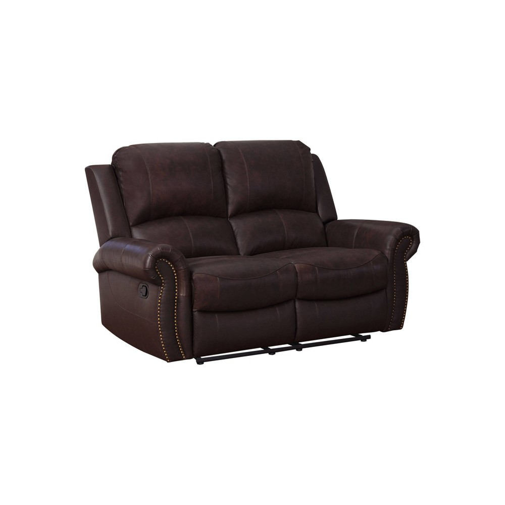 Lorenzo Top Grain Leather Reclining Loveseat Brown - Abbyson Living