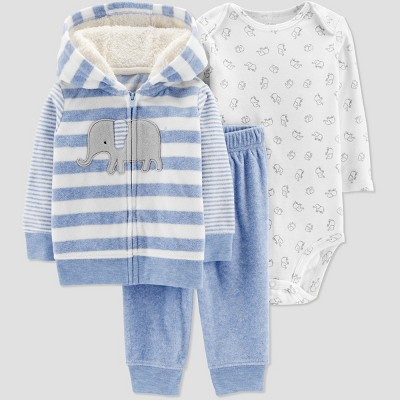 Baby Boys' 3pc Elephant Stripe Cardigan Set - Just One You® made by carter's Blue 9M