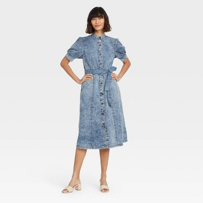 Women's Puff Short Sleeve Dress - Who What Wear™ Blue