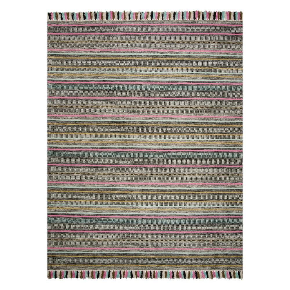 8'X10' Stripe Woven Area Rug Black - Safavieh, Black/Multi-Colored
