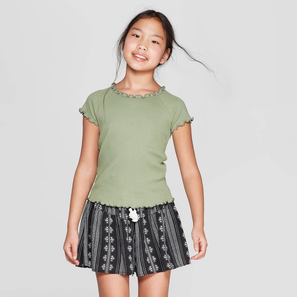 Girls' Lettuce Edge Short Sleeve Rib T-Shirt - art class Green XS