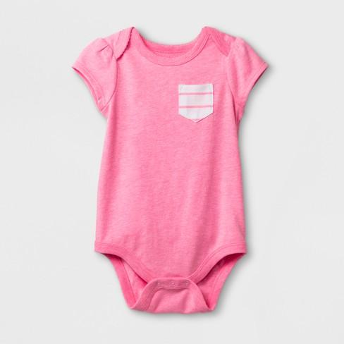 656c018fe Baby Girls  Short Sleeve Bodysuit - Cat   Jack™ Daring Pink   Target