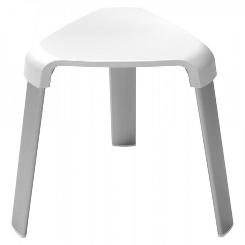 Deluxe Bathroom Stool with Flat Tube Legs White - evekare - image 1 of 2