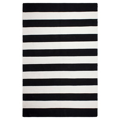 Nantucket Patio Rug Black And White 3' x 5' - Fab Habitat
