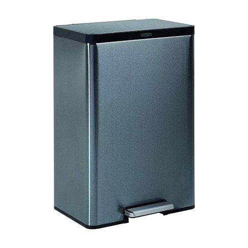 Rubbermaid 12 Gallon Stainless Steel Metal Front Step On Touchless Waste Basket Garbage Bin Trash Can for Kitchen Bathroom Bedroom, Charcoal - image 1 of 4