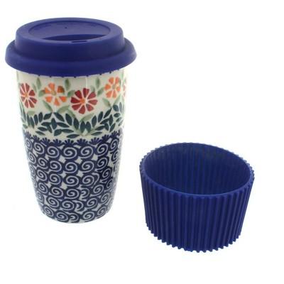 Blue Rose Polish Pottery Garden Bouquet Travel Coffee Mug