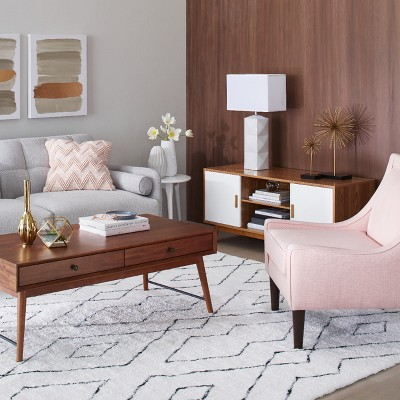 Mid-Century Modern With Blush Accents Living Room Collection ...