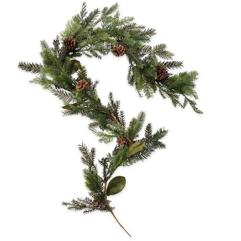 Holiday Mixed Faux Greenery Christmas Garland With Berries And Pine Cones Plow Hearth