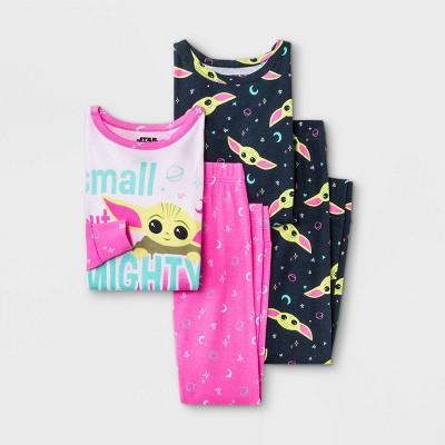 Girls' Star Wars Baby Yoda 4pc Pajama Set - Pink