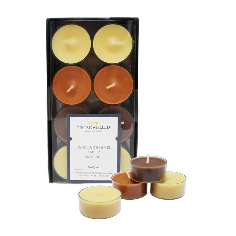 "Image of "".31"""" 24pk Tealight Candle Set Vanilla Caramel/Amber/Bonfire - Threshold , Beige Brown"""