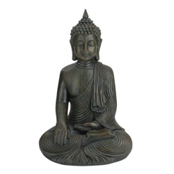 "Northlight 18"" Weathered Sitting Buddha Outdoor Patio Garden Statue - Black/Bronze"