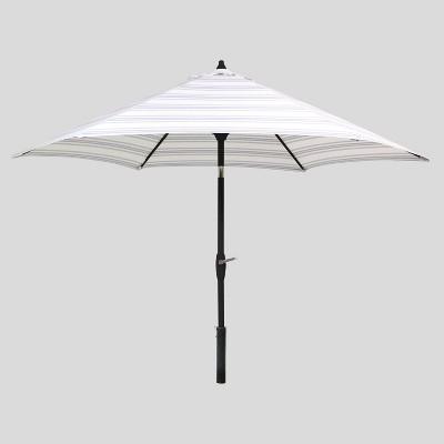 9' Round Ticking Stripe Patio Umbrella Navy - Black Pole - Threshold™