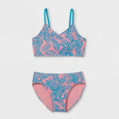 Girls' Ribbed Palm Print 2pc Bikini Set - art class™ Pink