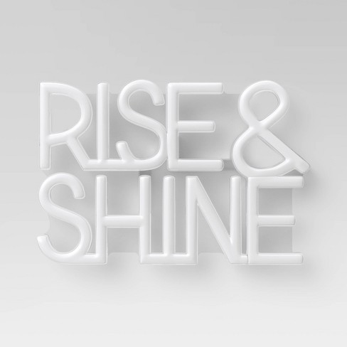 Rise & Shine LED Neon Wall Sign White - Room Essentials™ - image 1 of 2