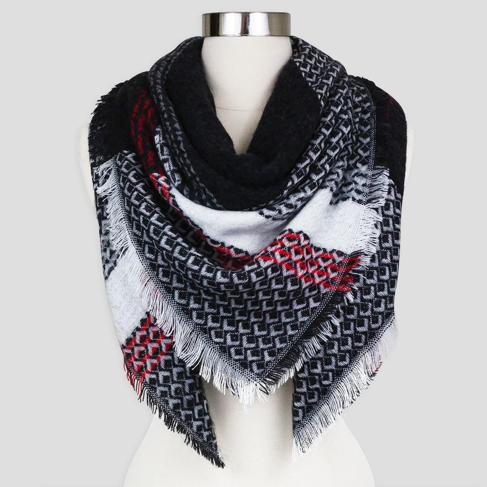 Sylvia Alexander Plaid Blanket Scarf - Black