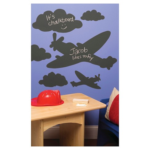 Planes & Clouds Chalkboard Peel & Stick Wall Decal Black 1 Sheet - Wallies® - image 1 of 1