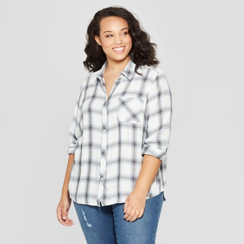 Women's Plus Size Plaid Long Sleeve Collared Shirt - Universal Thread™ White - image 1 of 3