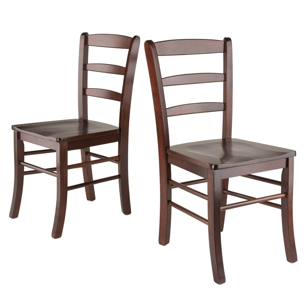 Set Of 2 Ladder Back Chair Antique Walnut Winsome