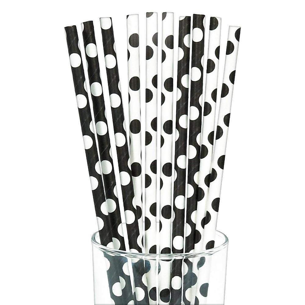 Image of 10ct Black & White Polka Dot Paper Straw